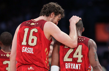 LOS ANGELES, CA - FEBRUARY 20:  Pau Gasol #16 of the Los Angeles Lakers  and the Western Conference talks with teammate Kobe Bryant #24 in the 2011 NBA All-Star Game at Staples Center on February 20, 2011 in Los Angeles, California. NOTE TO USER: User exp