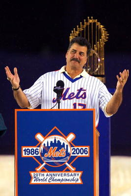 NEW YORK - AUGUST 19:  Keith Hernandez a member of the 1986 New York Mets speaks during a tribute to mark the 20th Anniversary of their World Series win, before the New York Mets played the Colorado Rockies at Shea Stadium August 19, 2006 in the Queens bo