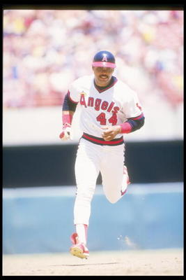1986:  Reggie Jackson of the California Angels runs around the bases during a game at Anaheim Stadium in Anaheim, California. Mandatory Credit: Rick Stewart  /Allsport