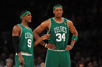 LOS ANGELES, CA - JUNE 06:  (L-R) Rajon Rondo #9 and Paul Pierce #34 of the Boston Celtics talk on court in the first half against the Los Angeles Lakers in Game Two of the 2010 NBA Finals at Staples Center on June 6, 2010 in Los Angeles, California. NOTE