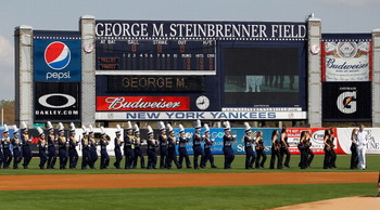 TAMPA, FL - FEBRUARY 26:  The George M. Steinbrenner High School Band plays just prior to the start of the Grapefruit League Spring Training Game between the New York Yankees and the Philadelphia Phillies at George M. Steinbrenner Field on February 26, 20
