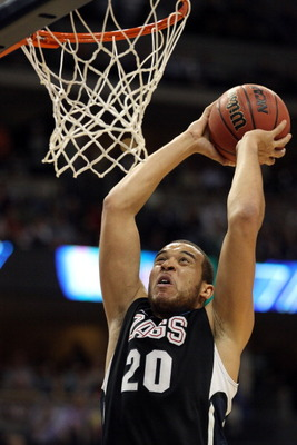 DENVER, CO - MARCH 19:  Elias Harris #20 of the Gonzaga Bulldogs goes up for a dunk against the Brigham Young Cougars during the third round of the 2011 NCAA men's basketball tournament at Pepsi Center on March 19, 2011 in Denver, Colorado.  (Photo by Jus