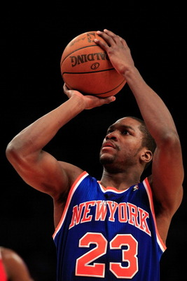 NEW YORK, NY - FEBRUARY 16:  Toney Douglas #23 of the New York Knicks shoots a free throw against the Atlanta Hawks at Madison Square Garden on February 16, 2011 in New York City. NOTE TO USER: User expressly acknowledges and agrees that, by downloading a