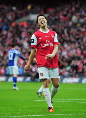 LONDON, ENGLAND - FEBRUARY 27: Samir Nasri of Arsenal shows his despair during the Carling Cup Final between Arsenal and Birmingham City at Wembley Stadium on February 27, 2011 in London, England.  (Photo by Shaun Botterill/Getty Images)