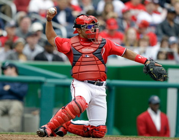 WASHINGTON, DC - APRIL 03:  Catcher Ivan Rodriguez #7 of the Washington Nationals against the Atlanta Braves at Nationals Park on April 3, 2011 in Washington, DC.  (Photo by Rob Carr/Getty Images)