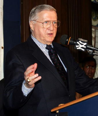 NEW YORK - JUNE 15:  Owner George Steinbrenner of the New York Yankees speaks to the media during a press conference announcing plans for a new Yankee Stadium in the Stadium Club room at Yankee Stadium on June 15, 2005 in the Bronx borough of New York Cit