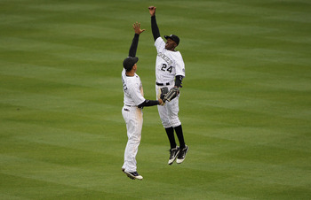 Dexter Fowler and Carlos Gonzalez celebrate the Rockies Mini-Sweep of the Los Angeles Dodgers