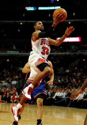CHICAGO - NOVEMBER 04: C.J. Watson #32 of the Chicago Bulls goes up for a shot against the New York Knicks at the United Center on November 4, 2010 in Chicago, Illinois. The Knicks defeated the Bulls 120-112. NOTE TO USER: User expressly acknowledges and