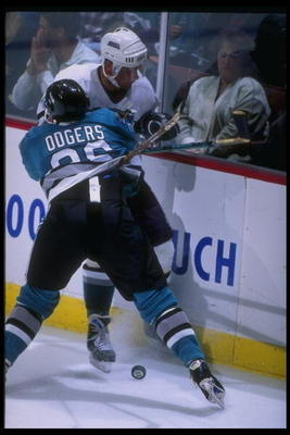 17 Apr 1995: Leftwinger Jeff Odgers of the San Jose Sharks and leftwinger Garry Valk of the Anaheim Mighty Ducks tangle up during a game at Arrowhead Pond in Anaheim, California. The Ducks won the game, 3-0.