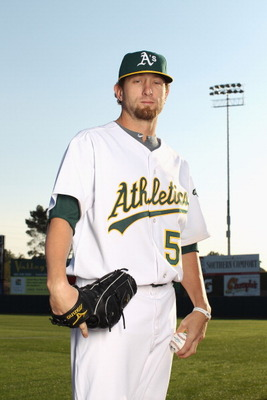 PHOENIX, AZ - FEBRUARY 24:  Dallas Braden #51 of the Oakland Athletics poses for a portrait during media photo day at Phoenix Municipal Stadium on February 24, 2011 in Phoenix, Arizona.  (Photo by Ezra Shaw/Getty Images)