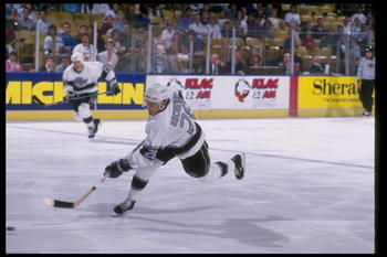 Defenseman Steve Duchesne of the Los Angeles Kings.