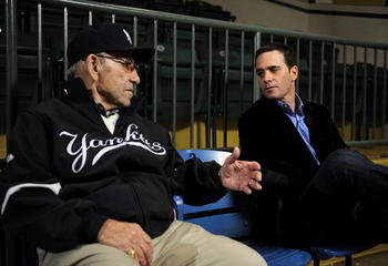 LITTLE FALLS, NJ - NOVEMBER 23:  Baseball Hall of Famer Yogi Berra and four-time Nascar champion Jimmie Johnson chat in the theater at the Yogi Berra Museum and and Learning Center on November 23, 2009 in Little Falls, New Jersey.  (Photo by Jeff Zelevans