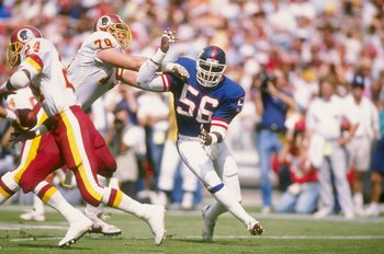 2 Oct 1988:  Linebacker Lawrence Taylor of the New York Giants in action during a game against the Washington Redskins at RFK Stadium in Washington, D.C.  The Giants won the game 24-23. Mandatory Credit: Mike Powell  /Allsport