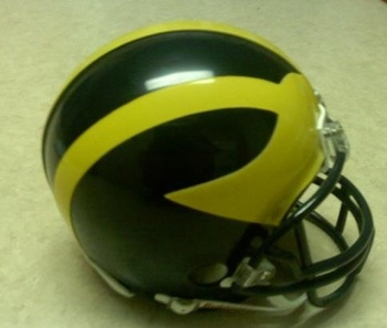 The iconic Michigan winged helmet
