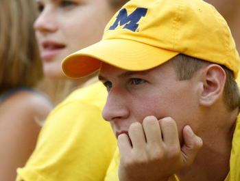 ANN ARBOR, MI - SEPTEMBER 08: A Michigan Wolverines fan looks on during a game against the Oregon Ducks September 8, 2007 at Michigan Stadium in Ann Arbor, Michigan. Oregon won the game 39-7. (Photo By Gregory Shamus/Getty Images)