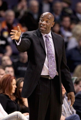 PHOENIX, AZ - FEBRUARY 10:  Head coach Keith Smart of the Golden State Warriors directs his team during the NBA game against the Phoenix Suns at US Airways Center on February 10, 2011 in Phoenix, Arizona.  The Suns defeated the Warriors 112-88. NOTE TO US