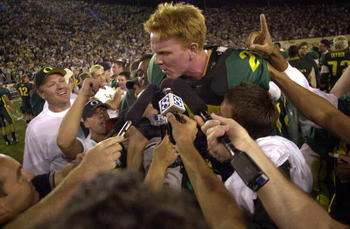 22 SEP 2001:  Place kicker Jared Siegel of the Oregon Ducks is hoisted up by teammates after kicking the winning field goal with 16 seconds left in the game to defeat the USC Trojans 24-22 at Autzen Stadium in Eugene, Oregon. DIGITAL IMAGE. Mandatory Cred