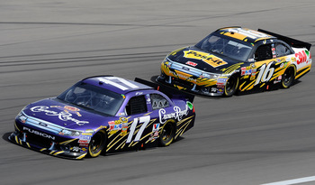 LAS VEGAS, NV - MARCH 06:  Matt Kenseth, driver of the #17 Crown Royal Ford, leads Greg Biffle, driver of the #16 3M Post-it Ford, during the NASCAR Sprint Cup Series Kobalt Tools 400 at Las Vegas Motor Speedway on March 6, 2011 in Las Vegas, Nevada.  (Ph