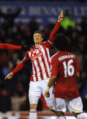 STOKE ON TRENT, ENGLAND - NOVEMBER 09:  Robert Huth of Stoke celebrates scoring to make it 1-0 during the Barclays Premier League match between Stoke City and Birmingham City at the Britannia Stadium on November 9, 2010 in Stoke on Trent, England.  (Photo