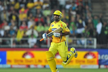 JOHANNESBURG, SOUTH AFRICA - SEPTEMBER 26: Mahendrs Singh Dhoni of the Super Kings seals the match during the 2010 Airtel Champions League Twenty20 final match between Chennai Super Kings and Chevrolet Warriors from Bidvest Wanderers Stadium on September