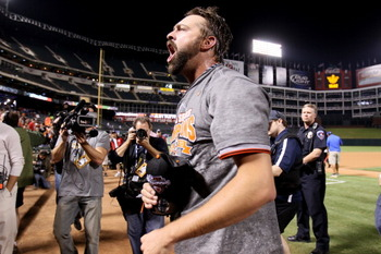 ARLINGTON, TX - NOVEMBER 01: Pitcher Jeremy Affeldt #41 of the San Francisco Giants celebrates on the field after they won 3-1 against the Texas Rangers in Game Five of the 2010 MLB World Series at Rangers Ballpark in Arlington on November 1, 2010 in Arli