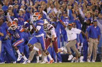 The lone bright spot in an otherwise dismal night for the Gators, Andre Debose took the opening kickoff for a touchdown against South Carolina in a 36-14 home loss on Nov. 13, 2010.