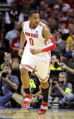 CLEVELAND, OH - MARCH 18:  Jared Sullinger #0 of the Ohio State Buckeyes runs up court after a play against the Texas-San Antonio Roadrunners during the second round of the 2011 NCAA men's basketball tournament at Quicken Loans Arena on March 18, 2011 in