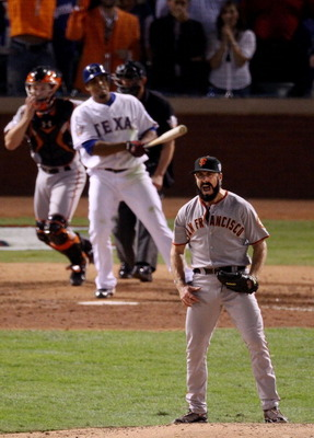 ARLINGTON, TX - NOVEMBER 01:  Brian Wilson #38 of the San Francisco Giants celebrates striking out Nelson Cruz #17 of the Texas Rangers to win the 2010 MLB World Series 3-1 at Rangers Ballpark in Arlington on November 1, 2010 in Arlington, Texas.  (Photo