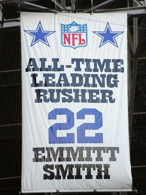 IRVING, TX - NOVEMBER 20:  A banner hangs from the rafters commemorating NFL All-Time Leading Rusher and  former Dallas Cowboys runningback Emmitt Smith during the game between the Detroit Lions and the Dallas Cowboys on November 20, 2005 at Texas Stadium