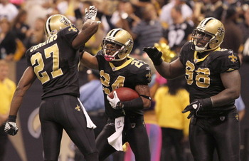 NEW ORLEANS - OCTOBER 31: Leigh Torrence #24 of the New Orleans Saints celebrates a game-sealing interception against the Pittsburgh Steelers at the Louisiana Superdome on October 31, 2010 in New Orleans, Louisiana. (Photo by Matthew Sharpe/Getty Images)