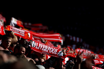 LIVERPOOL, UNITED KINGDOM - MARCH 06:  Liverpool fans show their support during the Barclays Premier League match between Liverpool and Manchester United at Anfield on March 6, 2011 in Liverpool, England. (Photo by Alex Livesey/Getty Images)