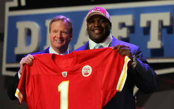 NEW YORK - APRIL 26:  Glenn Dorsey poses for a photo after being selected as the fifth overall pick by the Kansas City Chiefs with National Football League Commissioner Roger Goodell during the 2008 NFL Draft on April 26, 2008 at Radio City Music Hall in