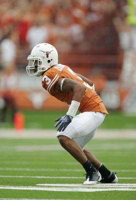 AUSTIN, TX - SEPTEMBER 5:  Cornerback Curtis Brown #3 of the Texas Longhorns reacts to the play during their game against the Louisiana Monroe Warhawks on September 5, 2009 at Darrell K Royal-Texas Memorial Stadium in Austin, Texas. The Longhorns defeated