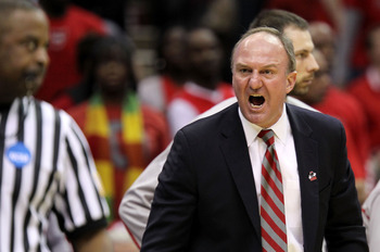 CLEVELAND, OH - MARCH 20: Head coach Thad Matta of the Ohio State Buckeyes yells from the bench during the first half against the George Mason Patriots during the third of the 2011 NCAA men's basketball tournament at Quicken Loans Arena on March 20, 2011
