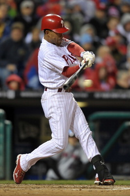 PHILADELPHIA, PA - APRIL 05: Wilson Valdez #21 of the Philadelphia Phillies hits a single during the game against the New York Mets at Citizens Bank Park on April 5, 2011 in Philadelphia, Pennsylvania. The Mets won 7-1. (Photo by Drew Hallowell/Getty Imag
