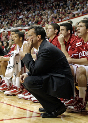 BLOOMINGTON, IN - NOVEMBER 23:  Tom Crean the Head Coach of the Indiana Hoosiers watches the action during the game against the North Carolina Central Eagles at Assembly Hall on November 23, 2010 in Bloomington, Indiana.  Indiana won 72-56.  (Photo by And