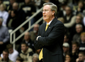 WEST LAFAYETTE, IN - JANUARY 09:  Head coach Fran McCaffery of the Iowa Hawkeyes coaches against the Purdue Boilermakers at Mackey Arena on January 9, 2011 in West Lafayette, Indiana.  (Photo by Chris Chambers/Getty Images)