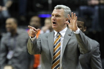 INDIANAPOLIS, IN - MARCH 11:  Head coach Bruce Weber of the Illinois Fighting Illini coaches against the Michigan Wolverines during the quarterfinals of the 2011 Big Ten Men's Basketball Tournament at Conseco Fieldhouse on March 11, 2011 in Indianapolis,
