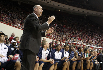 BLOOMINGTON, IN - DECEMBER 27:  Ed DeChellis the Head Coach of the Penn State Nittany Lions gives instructions to his team during the Big Ten Conference game against the Indiana Hoosiers on December 27, 2010 at Assembly Hall in Bloomington, Indiana.  (Pho
