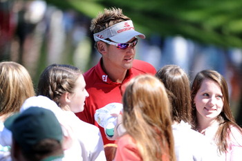 AUGUSTA, GA - APRIL 06:  Ian Poulter of England talks with fans during the Par 3 Contest prior to the 2011 Masters Tournament at Augusta National Golf Club on April 6, 2011 in Augusta, Georgia.  (Photo by Harry How/Getty Images)