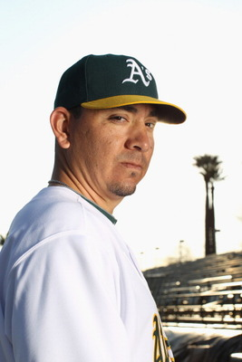PHOENIX, AZ - FEBRUARY 24:  Brian Fuentes #57 of the Oakland Athletics poses for a portrait during media photo day at Phoenix Municipal Stadium on February 24, 2011 in Phoenix, Arizona.  (Photo by Ezra Shaw/Getty Images)