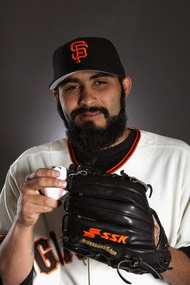 SCOTTSDALE, AZ - FEBRUARY 23:  Sergio Romo #54 of the San Francisco Giants poses for a portrait during media photo day at Scottsdale Stadium on February 23, 2011 in Scottsdale, Arizona.  (Photo by Ezra Shaw/Getty Images)