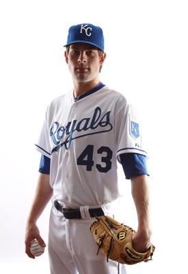 SURPRISE, AZ - FEBRUARY 23:  Aaron Crow #43 of the Kansas City Royals poses for a portrait during Spring Training Media Day on February 23, 2011 at Surprise Stadium in Surprise, Arizona..  (Photo by Jonathan Ferrey/Getty Images)