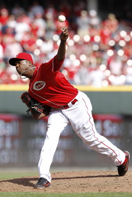 CINCINNATI, OH - APRIL 3: Aroldis Chapman #54 of the Cincinnati Reds pitches against the Milwaukee Brewers at Great American Ball Park on April 3, 2011 in Cincinnati, Ohio. The Reds won 12-3. (Photo by Joe Robbins/Getty Images)