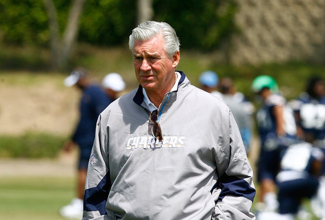 SAN DIEGO - MAY 03: General Manager A.J. Smith of the San Diego Chargers watches minicamp practice at the Chargers training facility on May 3, 2009 in San Diego, California. (Photo by Kevin Terrell/Getty Images)