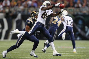 ST. LOUIS - OCTOBER 17: Buster Davis #84 of the San Diego Chargers attemptes to haul in a pass against Justin King #31 of the St. Louis Rams at the Edward Jones Dome on October 17, 2010 in St. Louis, Missouri.  The Rams beat the Chargers 20-17.  (Photo by