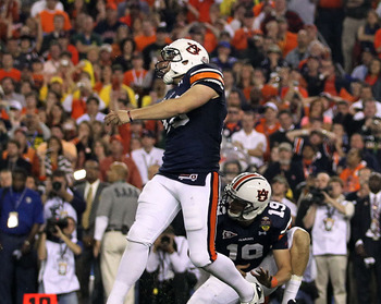 GLENDALE, AZ - JANUARY 10:  Kicker Wes Byrum #18 of the Auburn Tigers kicks a 19-yard game-winning field goal to defeat the Oregon Ducks 22-19 in the Tostitos BCS National Championship Game at University of Phoenix Stadium on January 10, 2011 in Glendale,