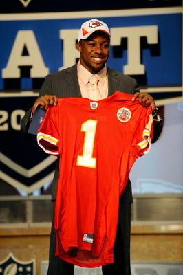 NEW YORK - APRIL 22:  Eric Berry from the Tennessee Volunteers holds a Kansas City Chiefs jersey after Chiefs selected Berry number 5 overall in the first round of the 2010 NFL Draft at Radio City Music Hall on April 22, 2010 in New York City.  (Photo by