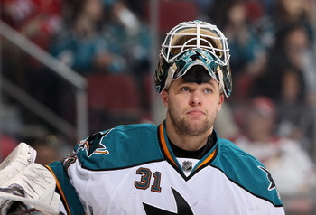 GLENDALE, AZ - MARCH 26:  Goaltender Antti Niemi #31 of the San Jose Sharks during the NHL game against the Phoenix Coyotes at Jobing.com Arena on March 26, 2011 in Glendale, Arizona.  The Sharks defeated the Coyotes 4-1.  (Photo by Christian Petersen/Get