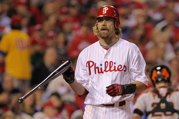 PHILADELPHIA - OCTOBER 17:  Jayson Werth #28 of the Philadelphia Phillies reacts to striking out against the San Francisco Giants in Game Two of the NLCS during the 2010 MLB Playoffs at Citizens Bank Park on October 17, 2010 in Philadelphia, Pennsylvania.